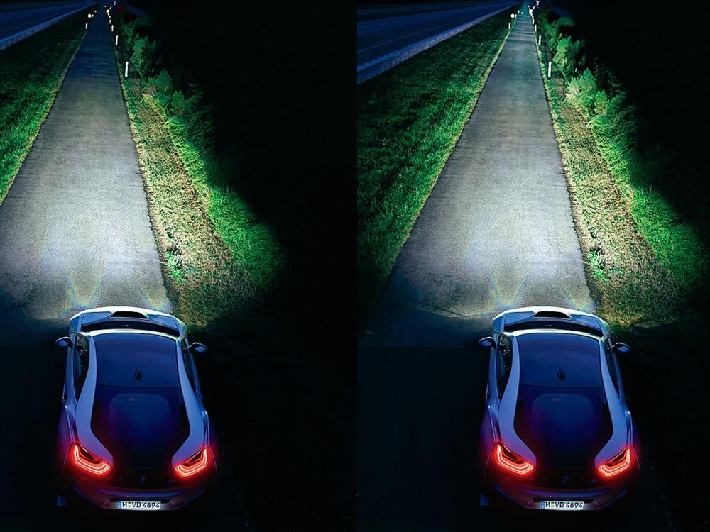 Лазерно-люминофорные фары BMW i8 в режиме ближнего и дальнего света, лазерно-люминофорные фары, лазерные фары, BMW i8, БМВ i8