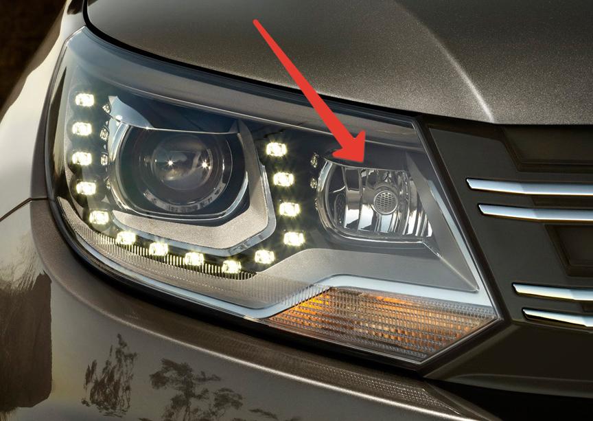 Дополнительная секция освещения поворота в фаре, фара Volkswagen Tiguan, фара Фольксваген Тигуан