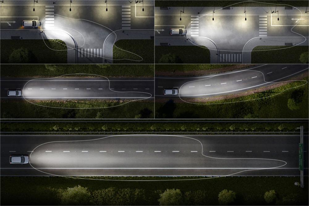 Режимы работы головного освещения Skoda A7: 1-режим «перекресток»; 2-городской режим; 3-режим «трасса»; 4-режим поворота; 5-режим «магистраль», Skoda Octavia фары, Шкода Октавия свет фар