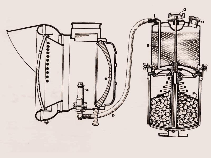 Устройство ацетиленовой фары, схема ацетиленовой фары, ацетиленовая фара, фара